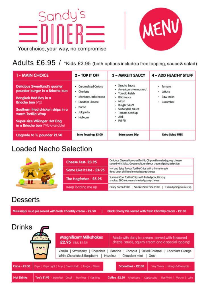 Sandy's Diner menu